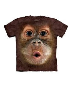 Take a look at this Brown Baby Orangutan Face Tee - Toddler & Kids by The Mountain on #zulily today!