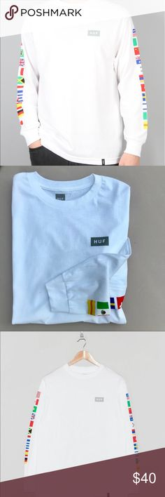 NWOT 🇺🇸 HUF FLAGS TEE SIZE LARGE MENS New without tags! HUF MENS LONG SLEEVE TEE. TRUE TO SIZE. REGULAR MENS TEE FIT. FRONT LOGO AT CHEST & PLAIN BACK.... FLAGS ON ARMS. Size LARGE is currently available.   Ships securely same or next day from my smoke free home.  PRICE IS FIRM. Offers are considered through the offer button only. 🤑 Bundle items to save.   100% authentic purchased direct. 🇺🇸 HUF Tops Tees - Long Sleeve