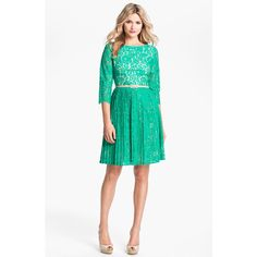 Eliza J Belted Lace Fit & Flare Dress ($178) ❤ liked on Polyvore
