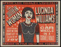 LUCINDA WILLIAMS- Car Wheels on a Gravel Road Hand Printed Woodblock Poster