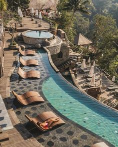 Bali Travel, Luxury Travel, Jacuzzi, Places To Travel, Places To Go, Lazy River Pool, Jungle Resort, Hotel Pool, Exotic Places