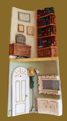 Teja Paper Mache Crafts, Clay Crafts, Decoupage, Clay Wall Art, Roof Tiles, Clay Figures, Decorative Tile, Fairy Houses, Tile Art