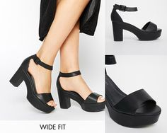 New Look Wide-Fit Black Heeled Sandals | 31 Legitimately Cute Shoes For Ladies With Wide Feet