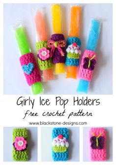 Girly Ice Pop Holders free crochet pattern from Blackstone Designs Ice Pop Holders with designs all the girls will love! Keep the little ones cool during the summer, without freezing tiny fingers! Great for pool parties or summer birthday party favors. These are a huge hit with the kids! Also available is the Monster Ice Pop Holders. #crochet #girls #summer #popsicles #popsiclecozy #birthdayparty #Butterflies #cupcakes #bows #flowers #hearts