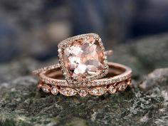 Bestselling 3 Carat cushion cut Morganite and Diamond Halo Wedding Ring Set with Art Deco bands in Rose Gold - Ring Morganite Engagement, Rose Gold Engagement Ring, Engagement Ring Settings, Diamond Wedding Rings, Bridal Rings, Vintage Engagement Rings, Gold Wedding, Diamond Bands, Diamond Jewelry