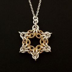 Sterling Silver and 14kt Gold Filled Star Bright Necklace or Pendant Chainmaille…