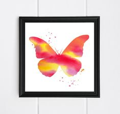 Butterfly wall art, watercolor painting, nursery decoration, girls room decoration, baby shower gift, downloadable and printable Penguin Illustration, Watercolor Illustration, Watercolor Paintings, Nursery Wall Art, Nursery Decor, Butterfly Wall Art, Cat Drinking, Make A Gift, Frame It