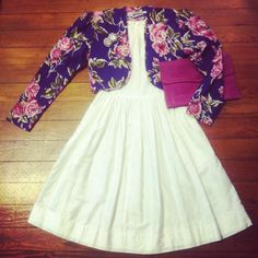 70's swing, 80's floral bolero and 80's clutch. Spring day date ready