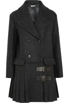 Miu Miu|Pleated wool coat|NET-A-PORTER.COM
