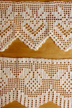 Carolina Crochet: Bicos em crochet filet para pano de prato
