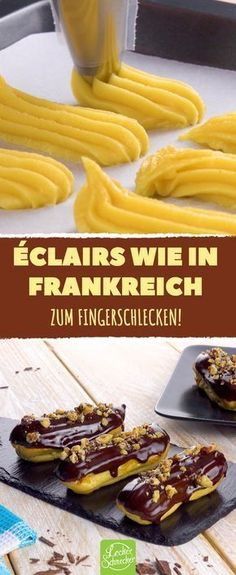 Fast … Original French Éclairs with pudding filling and chocolate glaze. Almost too nice to eat! Pudding Desserts, Pudding Recipes, Cake Recipes, Dessert Recipes, Torte Au Chocolat, Famous Desserts, Chocolate Glaze, French Pastries, Muffins
