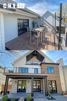 Unique Garage Doors, Garage Door Windows, Glass Garage Door, Patio Doors, Bellevue House, Covered Patio Design, Indoor Outdoor Kitchen, House With Balcony, Patio Deck Designs