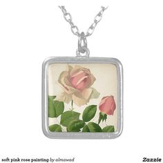 soft pink rose painting square pendant necklace