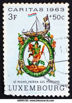 stamp printed in the Luxembourg shows St Michael, Patron of Shopkeepers, circa 1963