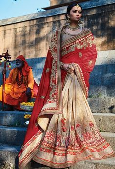 Red and beige designer party wear saree