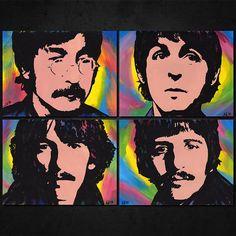"Set of 4 BEATLES Pop Art Paintings - NEW Originals, ea. 8""x 6"" Acrylics. John Lennon, Paul McCartney, George Harrison, Ringo Starr. Artwork"