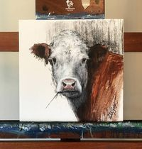 This is a Hereford painting from a photograph I took at Spencer Herefords Ranch. I have been painting at the Cattlemens Ball of NE and have been painting more cows and horses lately. Prints are available as well. Prices for Giclee Prints on canvas are as follows: 1x1 Gicleé on canvas - $225 1x1 Gicleé on archive paper (framed) $200 Please allow 1-2 weeks to have printed and message me for more details