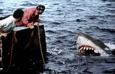 Robert Shaw and Richard Dreyfuss in Jaws (1975)