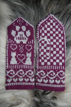 Ravelry: Cat TuttiFrutti Mittens pattern by Connie H Design Crochet Mittens, Mittens Pattern, Fingerless Mittens, Crochet Hats, Knitted Cat, Knitted Gloves, Fair Isle Knitting, Knitting Socks, Wrist Warmers