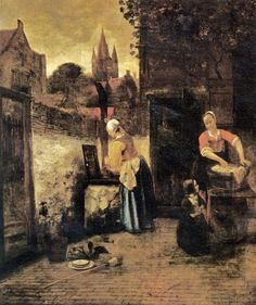 """Two Women with a Child in a Courtyard"" by Pieter de Hooch (1629-1684)"