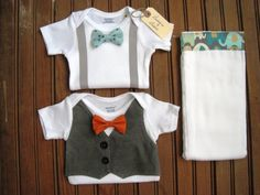 Short Sleeve Bow Tie & Vest Onesie Set with Burp Cloth, Twin Baby Gift, Twin Onesies, Newborn Baby Gift, Baby Boy Gift, Baby Boy Shower Gift via Etsy
