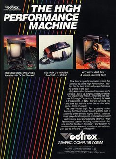 GCE Vectrex Video Game System, 3-D Imager and Light Pen Retro Gaming Ad #ads #retrogaming #oldschool