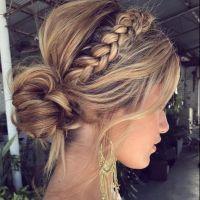 ideas hair updos for weddings guest bun hairstyles Hair Updos For Weddings Guest, Braided Hairstyles For Wedding, Bridal Hairstyles, Wedding Braids, Braided Bun Hairstyles, Long Bob Hairstyles, Braided Updo, Ladies Hairstyles, Bohemian Braids