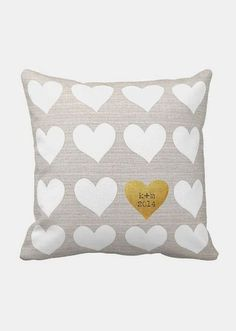 Personalized Hearts Wedding Pillow Cotton