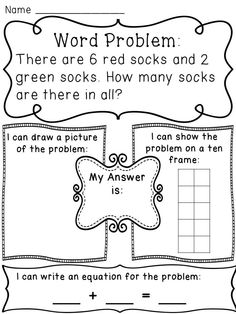 Addition to 10 word problems worksheets to help kids see the problems in a variety of ways (drawing a picture, making a ten frame, and writing a number sentence)