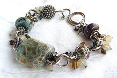 My Blue Jean Jacket Lampwork Bracelet Jewelry Wire Jewelry, Jewelry Crafts, Jewelry Art, Beaded Jewelry, Jewelry Bracelets, Jewelery, Vintage Jewelry, Jewelry Design, Jewelry Ideas