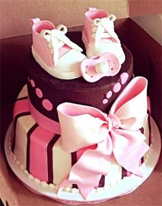 Baby shower cake, girl, brown and pink, baby shoes