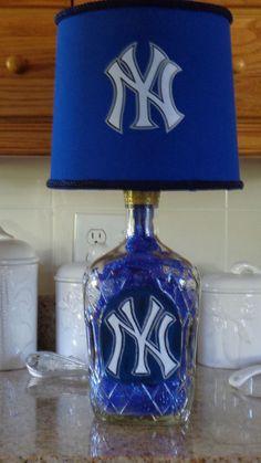 1.75 Lt Crown Royal Liquor Bottle Lamp (NY Yankee Logo & Shade-- THE CAPTAIN) #CrownRoyal