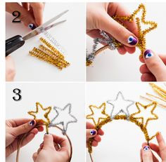 DIY Basics: Pipe Cleaner Party Crowns for New Year's Eve Crafts for Kids (Step-by-Step Instructions): Pipe cleaners and a regular headband combine in this easy kids' craft. Just help your little ones through the simple instructions, and you'll end up with Kids New Years Eve, New Years Eve Party, New Years Eve Decorations, Diy Party Decorations, Christmas Decorations, New Year's Eve Crafts, Holiday Crafts, Diy Crafts, Decor Crafts