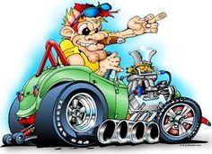 car art by chris frogett Car Art, Art Cars, Weird Cars, Cool Cars, Cartoon Pics, Cartoon Art, Auto Poster, Ed Roth Art, Hot Rod Tattoo