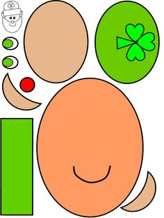 Leprechaun Shapes Printable Craft:  count, identify and assemble the shapes in color and coloring format