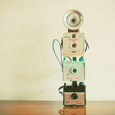 Tower of Cameras  Camera photography mid century by LolasRoom