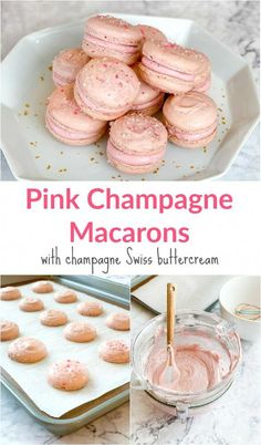 I created a 2019 Backing Bucket List and January's challenge was to bake macarons. Today I'm sharing the results and my recipe for pink champagne macarons. French Macaroon Recipes, French Macaroons, Pink Macaroons, Fun Desserts, Delicious Desserts, Yummy Food, Baking Recipes, Cookie Recipes, Macaron Filling