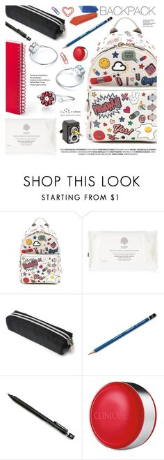 """""""Rule School: Cool Backpacks"""" by totwoo ❤ liked on Polyvore featuring Anya Hindmarch, RED, Pentel and Clinique"""