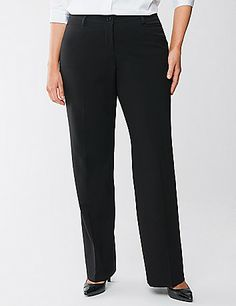 Tighter Tummy Technology makes this trendy trouser as slimming as it is stylish. Built-in control panel firms and flattens the tummy, with an elastic waistband for a gap-free fit. Features four trouser pockets and a button & zip fly closure.  Available in Petite and Tall sizes. lanebryant.com