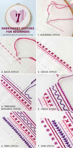 DIY: Heart Embroidery Sampler (For Beginners) - Learn how to create a beautiful Heart Embroidery Sampler. Learn seven easy to do stitches. Adventures in Making have a comprehensive step by step guide to help you