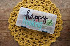 Happy Hooking crochet hook organizer by AutumnBerryCrochet on Etsy