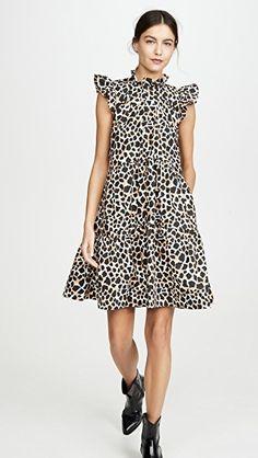 Sea Apollo Tiered Dress -- women's mini dress with leopard print poplin // shop w the attached affiliate link: Ny Fashion, Fashion Brand, Winter Fashion, Short Dresses, Dresses For Work, Dresses With Sleeves, Smock Dress, Dress Skirt, Classic Style Women