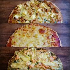 Homemade pizza for dinner tonight. Satay chicken ham & pineapple and salmon pesto. Absolutely delicious and better than the crap you order from the pizza place that's for sure!
