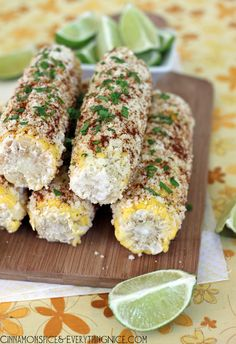 Mexican Street Corn- 4 lg ears corn-butter-sea/kosher salt-fresh ground pepper,to taste-1/2c mayonnaise-1 +1/2c Queso Fresco,crumble or Cotija or Parmesan cheese,grated-4 tsp chile powder-4 tbsp fresh cilantro, mince, optional-1 lime,cut in wedges Preheat oven 400 F. Brush corn lightly w butter-sprinkle w SP- Roast 20-25 minutes.Could grill or boil.Brush each ear w mayonnaise, sprinkle w cheese,chile powder,cilantro, if using, press into corn(helps it stick)Sprinkle w SP.Serve w lime wedges.