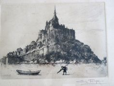 Charles Forget 1886-1960 Le Mont St Michel, Louvre, Triangles, Forget, Painting, Culture, Art, Watercolor Painting, Art Background
