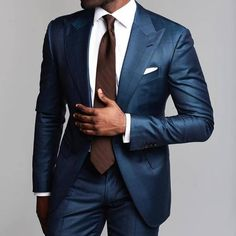 Well tailored navy suit