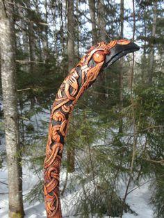 Hand Carved ODIN ash wood STAFF Paul Borda Dryad Design Asatru Viking SCA Rune