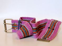 wool embroidered belt in pink