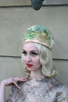 1960s Peach Satin Flowered Net Beehive Hat by MoonRiverMercantile, $40.00