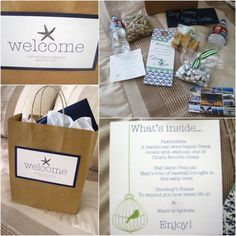 Welcome bag inspiration (local map, water bottle, hotel room door tag, mints, local sweets/nuts,sunscreen, lip balm)